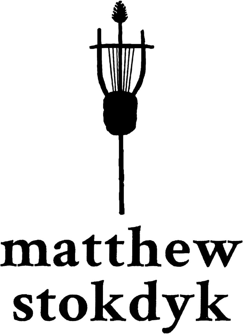 Matthew Stokdyk's logo; a thyrsus and a lyre.